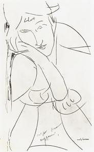 Sketch, Modigliani. Jeanne Hébuterne was Modigliani's tragic muse and lover.