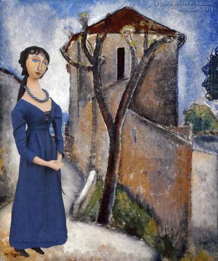 "Jeanne muse set in ""La passe, Arbres et maisons"", Modigliani, 1918. Jeanne Hébuterne was Modigliani's muse and lover, dying tragically young at 21. Jeanne was a talented artist in her own right, yet her life was too short for her creativity to mature. Muse made by Marina Elphick."
