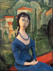 Jeanne muse in 'Landscape by Amedeo Modigliani. Jeanne Hébuterne was Modigliani's muse and lover, dying tragically young at 21. Jeanne was a talented artist in her own right, yet her life was too short for her creativity to mature. Muse made by Marina Elphick.