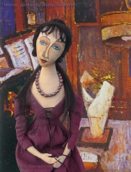 Muse in painting byJeanne Hébuterne. Hébuterne was Modigliani's muse and lover, dying tragically young at 21. Jeanne Hébuterne was a talented artist in her own right, yet her life was too short for her creativity to mature. Muse made by Marina Elphick.