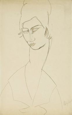 Portrait de Jeanne Hébuterne, pencil on paper 1916, by Modigliani. Jeanne Hébuterne was Modigliani's muse and lover, dying tragically young at 21. Jeanne was a talented artist in her own right, yet her life was too short for her creativity to mature.