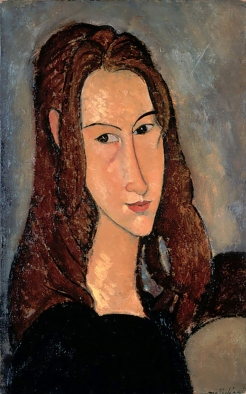 Portrait of Jeanne Hébuterne by Amedeo Modigliani. Jeanne Hébuterne was Modigliani's muse and lover, dying tragically young at 21. Jeanne was a talented artist in her own right, yet her life was too short for her creativity to mature. Muses made by Marina Elphick at marinamade.me.