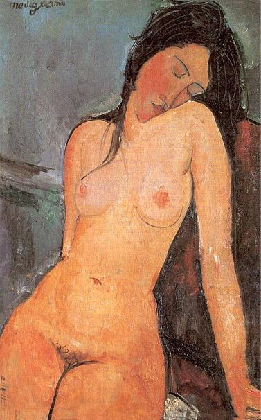 Seated nude 1916, by Amedeo Modigliani.