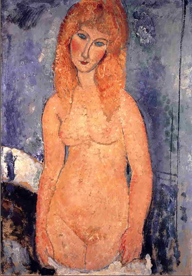 """Blonde nude standing with dropped chemise"" by Amedeo Modigliani."