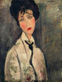'Woman with Black Tie' 1917 By Amedeo Modigliani.