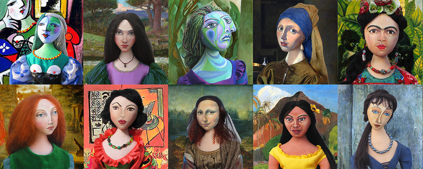 Marina's soft sculpted muses, featuring; Marie Therese, Beatrix Flaxman, Dora Maar, Maria Vermeer, Frida Kahlo, Lizzie Siddal, Lydia Lydia Delectorskaya, Mona Lisa, Teha'amana and Jeanne Hébuterne. Soft sculpted fine art by Marina Elphick,Marina's soft sculpted muses, featuring; Marie Therese, Beatrix Flaxman, Dora Maar, Maria Vermeer, Frida Kahlo, Lizzie Siddal, Lydia Lydia Delectorskaya, Mona Lisa, Teha'amana and Jeanne Hébuterne .