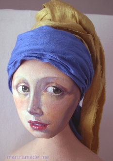 Early stages of painting muse's face and experimenting with silk scarf to make her turban. Marina creates soft sculpted muses of the women in popular artists' lives and gives us an alternative narrative to their story. Marina's muses aim to educate and inform, appealing aesthetically to art lovers and students.