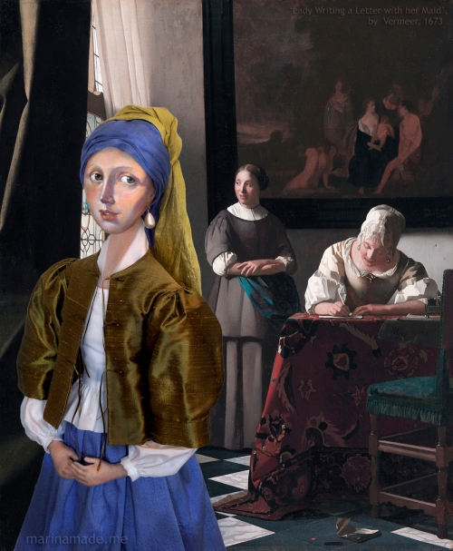 """Girl with a Pearl earring muse with """"Woman writing a letter with her maid"""", by Johannes Vermeer. Marina creates soft sculpted muses of the women in popular artists' lives and gives us an alternative narrative to their story. Marina's muses aim to educate and inform, appealing aesthetically to art lovers and students."""