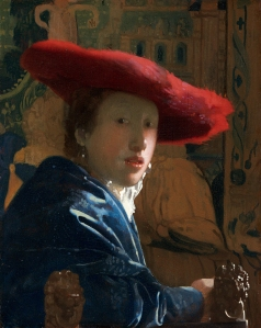 Girl with a Red Hat 1665-6. The attribution to Vermeer has been questioned and it has even been suggested that this painting might have been carried out by his daughter, Maria Vermeer.