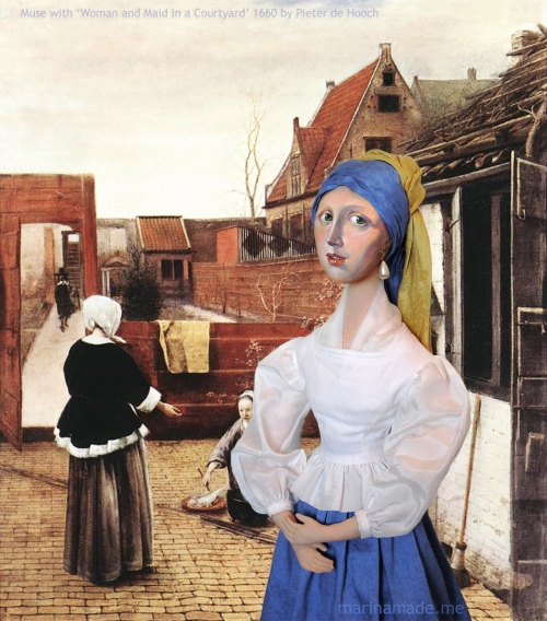 """Girl with a pearl earring muse imagined as the maid Griet, set in Pieter de Hooch's painting of a """"Woman and Maid in a Courtyard"""", 1660. Marina creates soft sculpted muses of the women in popular artists' lives and gives us an alternative narrative to their story. Marina's muses aim to educate and inform, appealing aesthetically to art lovers and students."""