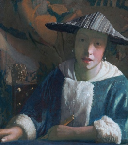 Girl with a flute (c1665-1670) the attribution to Vermeer has been questioned. There have been suggestions that this painting could be a self portrait by Maria Vermeer.