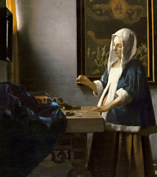 Woman Holding a Balance, painted by Johannes Vermeer, Circa 1664.