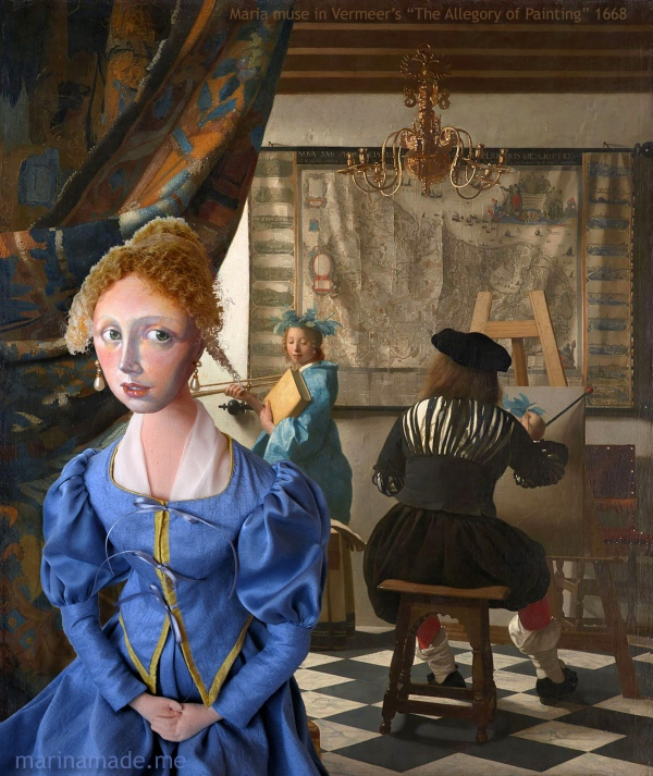"The imagined Maria Vermeer in her father's studio while he was painting ""The Allegory of Painting"". Marina creates soft sculpted muses of the women in popular artists' lives, giving an alternative narrative to their story. Marina's muses aim to educate and inform, appealing aesthetically to art lovers and students."