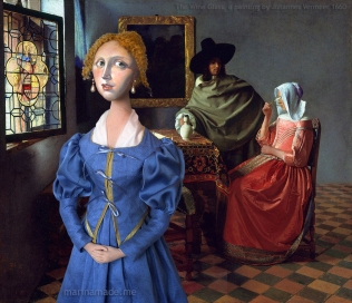Maria Vermeer muse with the painting by her father 'The Glass Of Wine', (1658-60) by Johannes Vermeer. Marina Elphick creates soft sculpted muses of the women in popular artists' lives and gives us an alternative narrative to their story. Marina's muses aim to educate and inform, appealing aesthetically to art lovers and students.