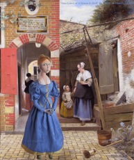 "Maria Vermeer muse set in a ""Courtyard of a House in Delft"", 1658, a painting by Pieter de Hooch. Marina creates soft sculpted muses of the women in popular artists' lives and gives us an alternative narrative to their story. Marina's muses aim to educate and inform, appealing aesthetically to art lovers and students."