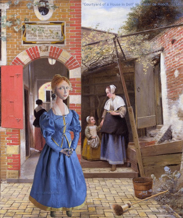 """Catherina Vermeer muse set in a """"Courtyard of a House in Delft"""", 1658, a painting by Pieter de Hooch. Marina creates soft sculpted muses of the women in popular artists' lives and gives us an alternative narrative to their story. Marina's muses aim to educate and inform, appealing aesthetically to art lovers and students."""