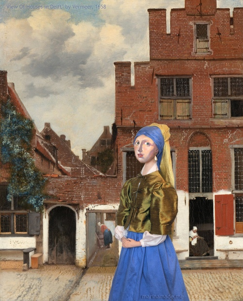 """'Girl with a Pearl Earring' muse in Vermeer's painting """"View Of Houses In Delft"""". Marina creates soft sculpted muses of the women in popular artists' lives, giving an alternative narrative to their story. Marina's muses aim to educate and inform, appealing aesthetically to art lovers and students."""