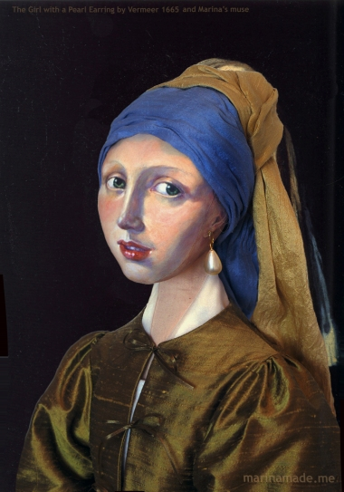 """Marina's muse of 'Girl with a Pearl earring' set in Vermeer's painting of that title. """"Girl with a Pearl Earring """", Johannes Vermeer 1665. Marina Elphick creates soft sculpted muses of the women in popular artists' lives, giving an alternative narrative to their story. Marina's muses aim to educate and inform, appealing aesthetically to art lovers and students."""