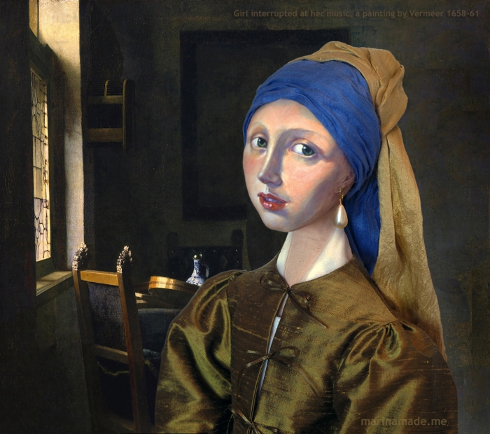 """Marina's muse of 'Girl with a Pearl earring' set in Vermeer's painting of """"Girl interrupted at her music"""". Marina creates soft sculpted muses of the women in popular artists' lives, giving an alternative narrative to their story. Marina's muses aim to educate and inform, appealing aesthetically to art lovers and students."""