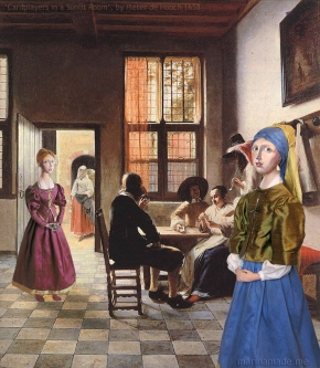Muses in Dutch interior, a painting by Pieter de Hooch, a fellow Delft artist and contemporary. 'Cardplayers in a Sunlit Room', 1658. Marina creates soft sculpted muses of the women in popular artists' lives and gives us an alternative narrative to their story. Marina's muses aim to educate and inform, appealing aesthetically to art lovers and students.