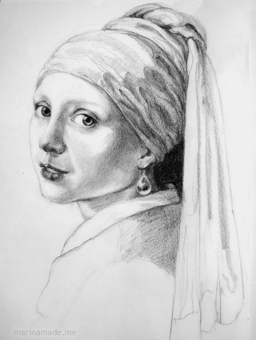 Preparatory sketch for 'Girl with a Pearl Earring' muse. Marina creates soft sculpted muses of the women in popular artists' lives, giving an alternative narrative to their story.