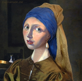 "Marina's muse of 'Girl with a Pearl earring' set in Vermeer's painting of ""Girl interrupted at her music"". Marina creates soft sculpted muses of the women in popular artists' lives, giving an alternative narrative to their story. Marina's muses aim to educate and inform, appealing aesthetically to art lovers and students."