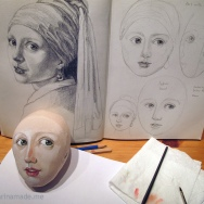Underpainting of girl's head, using scaled up drawings as reference. Marina creates soft sculpted muses of the women in popular artists' lives and gives us an alternative narrative to their story. Marina's muses aim to educate and inform, appealing aesthetically to art lovers and students.