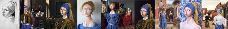 Imagined Vermeer muses set in Dutch painted interiors and courtyards, Marina's muses aim to educate and inform, appealing aesthetically to art lovers and students. Marina creates soft sculpted muses of the women in popular artists' lives and gives us an alternative narrative to their story.