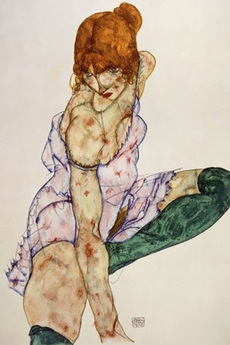 Blonde girl with green stockings, 1914, by Egon Schiele.