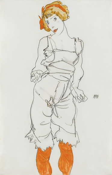 Egon Schiele 1913, Woman in Underwear and Stockings,
