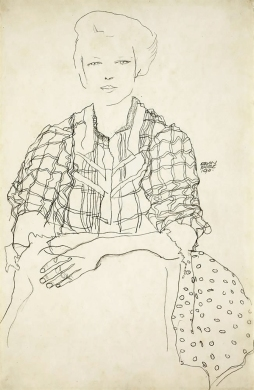 Egon Schiele, Girl in a plaid shirt 1911.