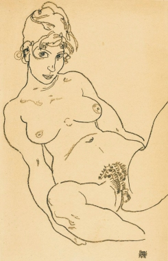 Nude drawing by Egon schiele, 1918.