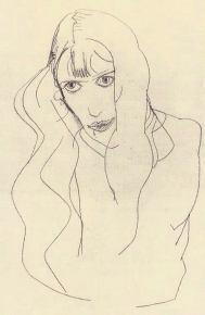 Egon Schiele , pencil drawing, Wally Neuzil, 1913.