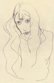 Egon Schiele , pencil drawing, Wally Neuzil, 1913.