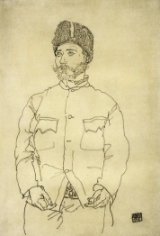 Egon Schiele, Russian Prisoner of War with Fur Hat, 1915.