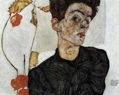 Egon Schiele, 'Self-Portrait with Physalis' 1912.