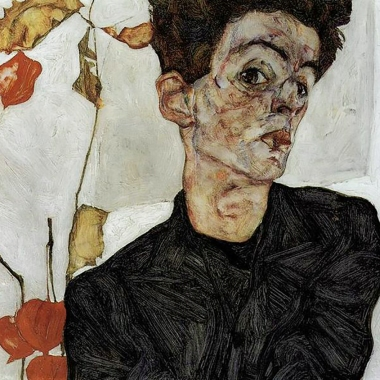 Egon Schiele, 'Self-Portrait with Physalis' 1912.