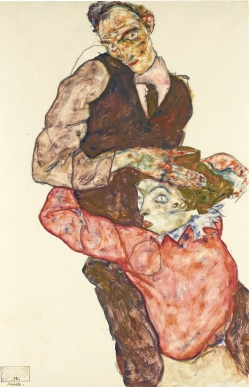 'The Lovers' 1914, by Egon Schiele, pencil and watercolour.