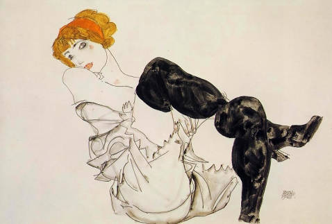 Egon Schiele, Wally Neuzil in Black Stockings, 1913.