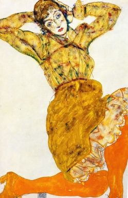 Egon Schiele, 'Woman in orange stockings', Wally Neuzil, 1914. Pencil, watercolour and gouache.