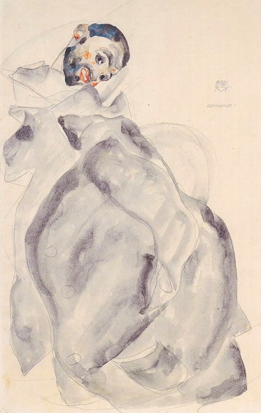 'Gefangener', prisoner, 1912 pencil and watercolour by Egon Schiele.