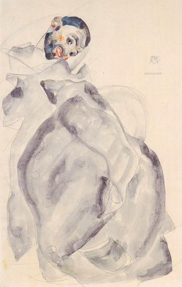 'Gefangener', prisoner, 1912 pencil and watercolour by Egon Schiele.