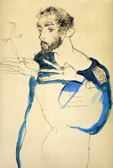 Gustav Klimt in Blue Smock, by Egon Schiele 1913.