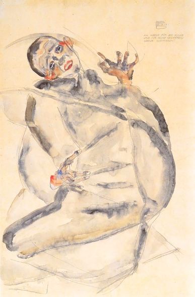 "Self portrait in jail, 25 April 1912, ""I shall endure for art and for the happiness of my lover"" Egon Schiele."