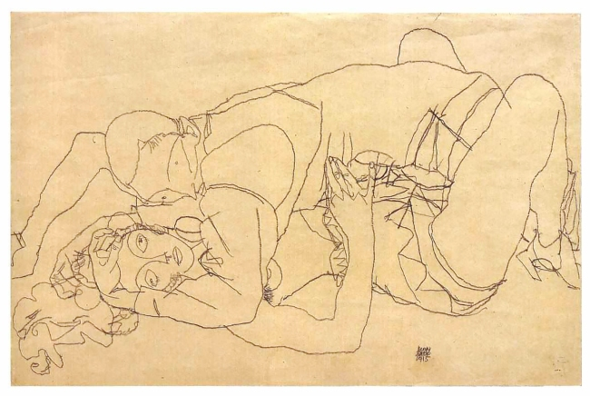 Study of Love Act, drawing in pencil by Egon Schiele, 1915.