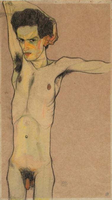 Nude Self Portrait, 1912, Egon Schiele.