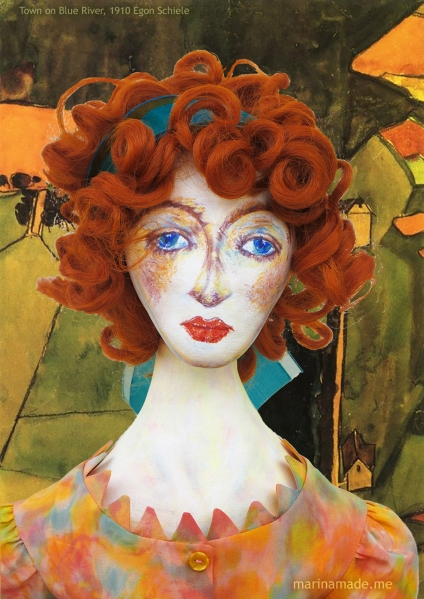 Portrait of Wally against the painting of 'Town on the Blue River', by Egon Schiele, 1910. Muse of Wally designed, sculpted, modelled and painted by Marina Elphick.
