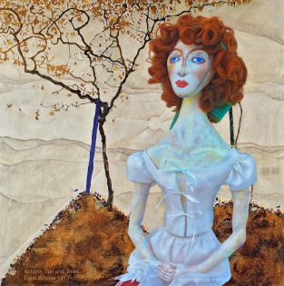 Wally in Autumn Sun and Trees , by Egon Schiele, 1912. Muses designed, sculpted, modelled and painted by Marina Elphick.