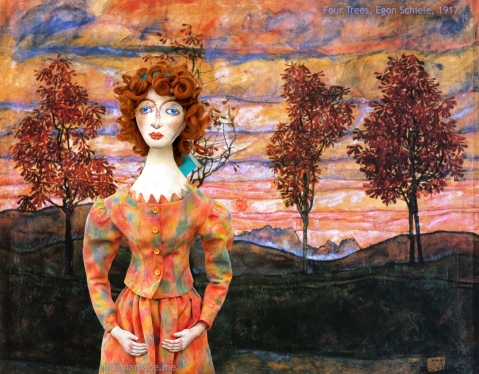 "Walburga Neuzil muse in the landscape ""Four Trees"" by Egon Schiele. Designed, sculpted, modelled and painted by Marina Elphick."