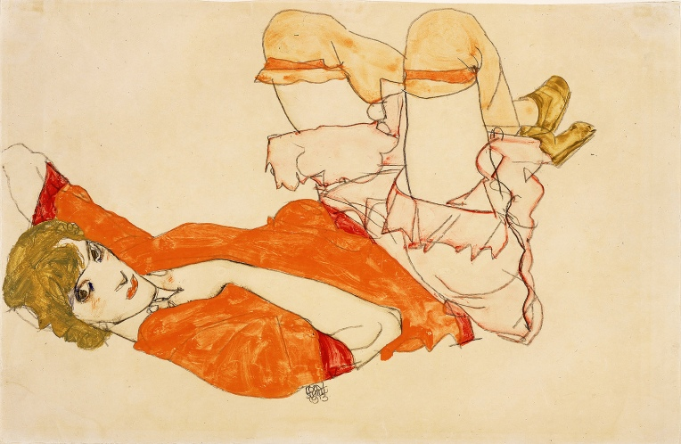 'Wally in a red blouse with raised knees', Watercolour, gouache, and pencil, by Egon Schiele 1913.